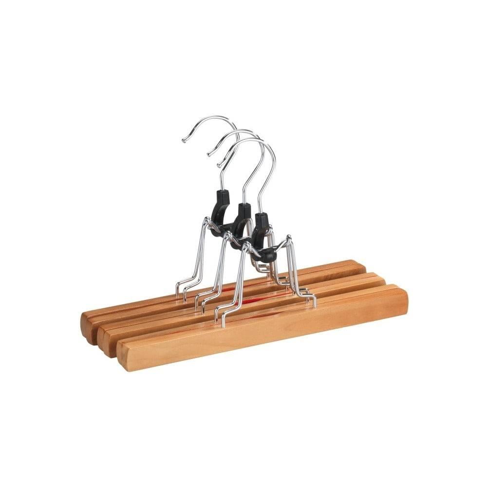 Wenko Sada 3 drevených vešiakov na nohavice Wenko Clamping Hanger