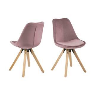 Súprava 2 ružových jedálenských stoličiek Actona Dima Velvet
