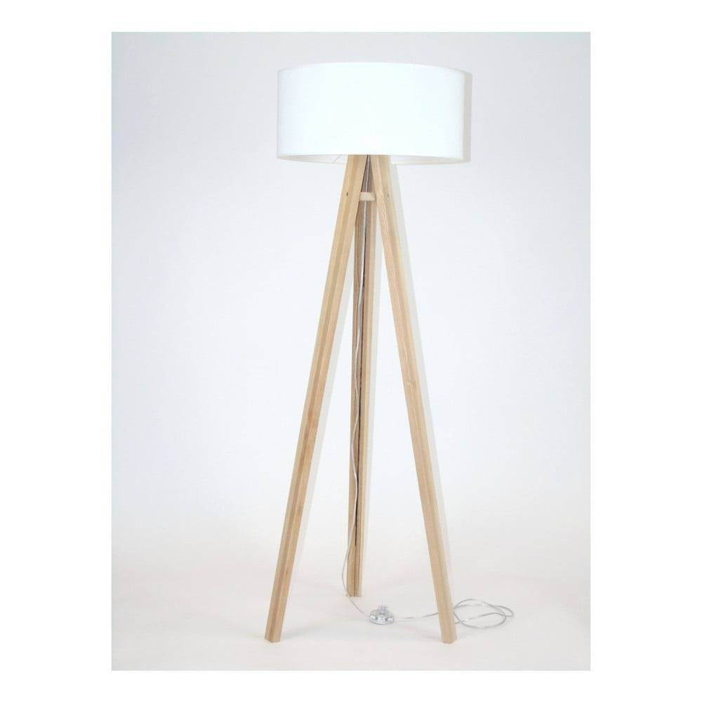 Ragaba Stojacia lampa s bielym tienidlom a transparentným káblom Ragaba Wanda
