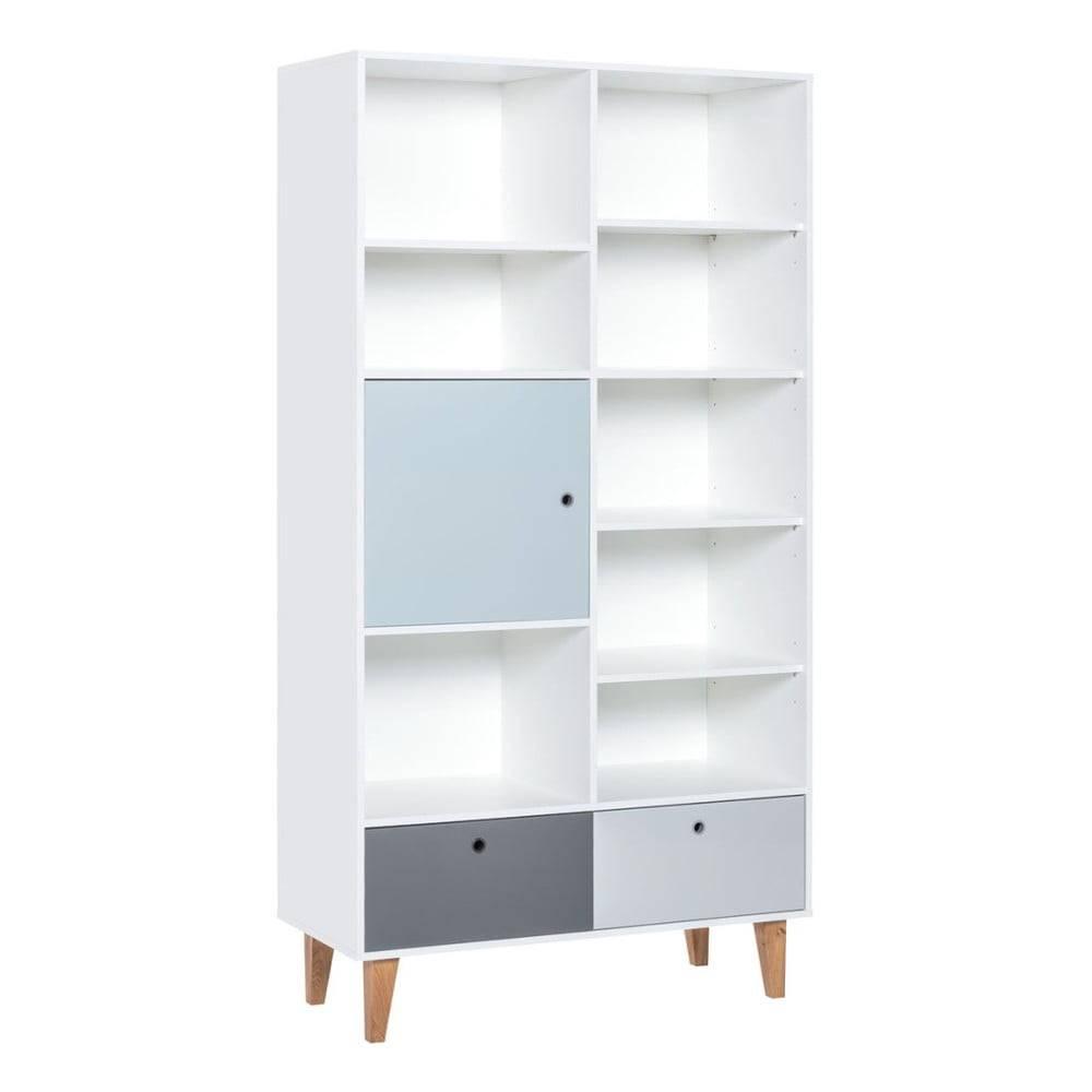 Vox Knižnica s modrými dvierkami z dubového dreva Vox Concept, 105x201,5cm
