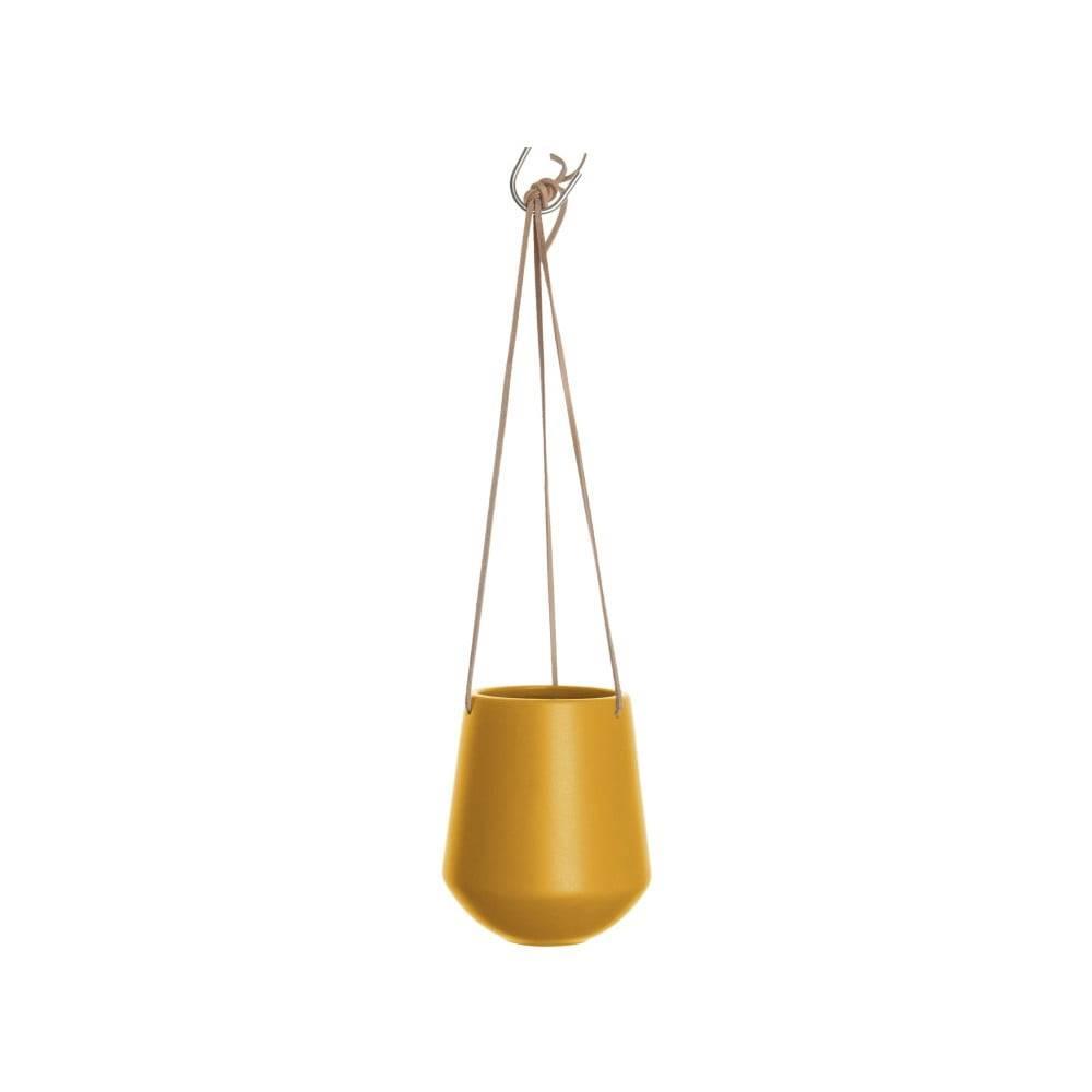 PT LIVING Matný okrovožltý závesný keramický kvetináč PT LIVING Skittle, výška 15cm