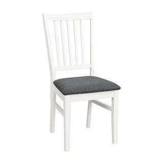 Biela jedálenská stolička z dreva kaučukovníka so sivým podsedadlom Rowico Wittaskar