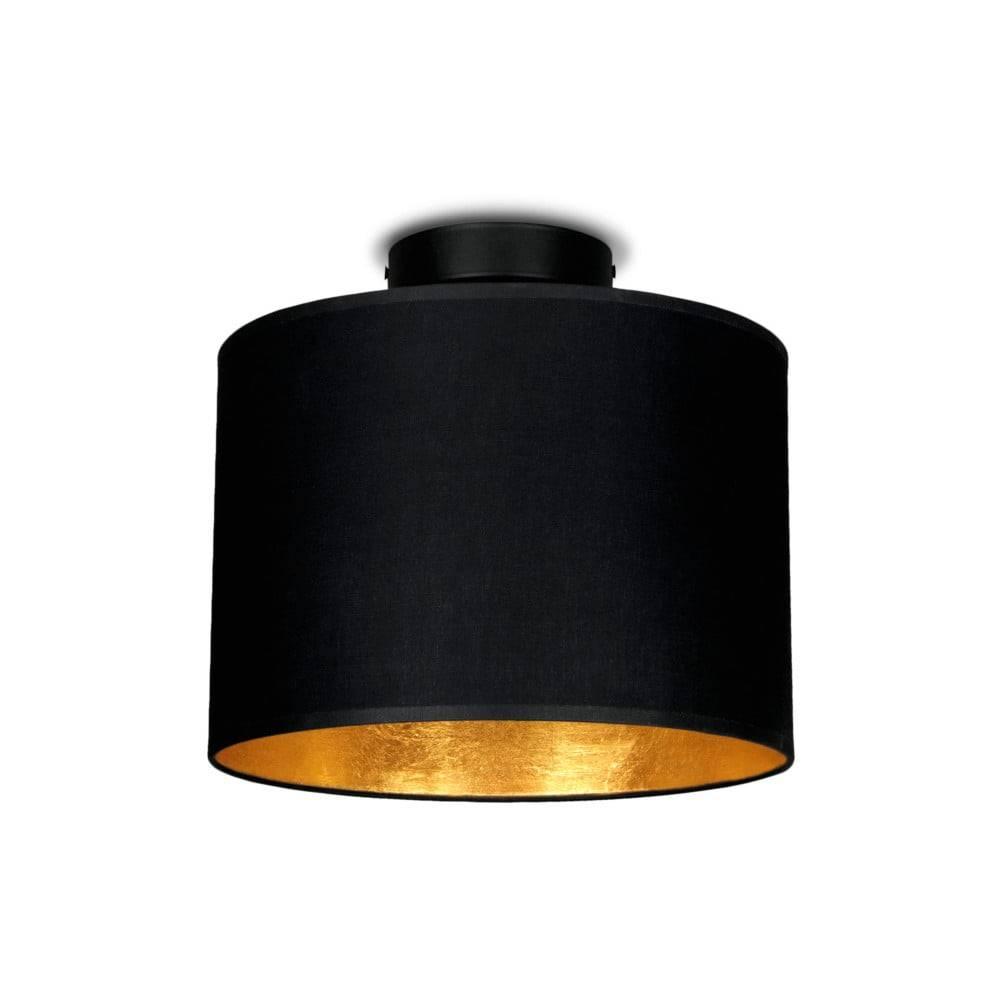Sotto Luce Čierne stropné svietidlo s detailom v zlatej farbe Sotto Luce Mika, Ø 25 cm