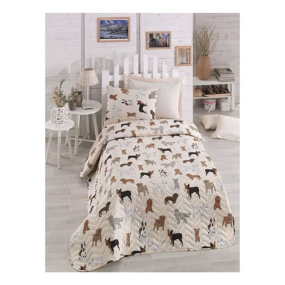 Eponj Home Krémový pléd na jednolôžko s obliečkou na vankúš Peritos, 160×220 cm