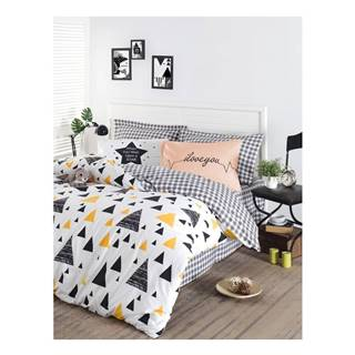 Obliečky na jednolôžko z ranforce bavlny Mijolnir Ilove Black & Yellow, 140 × 200 cm