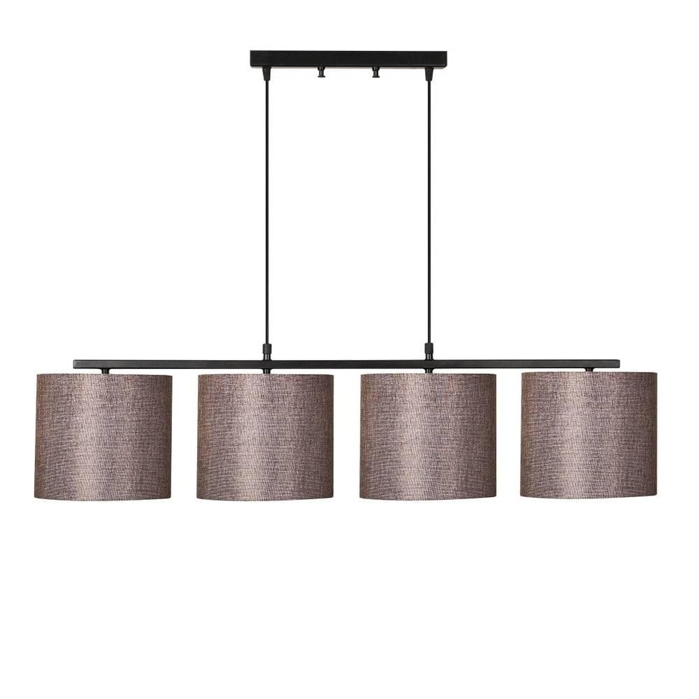 Opviq lights Čierne kovové závesné svietidlo s hnedými tienidlami Opviq lights Jacob