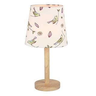 Stolná lampa drevo/látka vzor vtáci QENNY TYP 7 LT6026