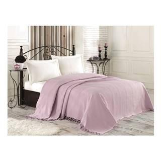 Svetlofialový bavlnený pléd cez posteľ na dvojlôžko Tarry, 220×240 cm