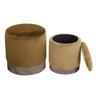 Set dvoch taburetov hnedá/strieborná chróm a béžová/strieborná chróm AIGUL SET