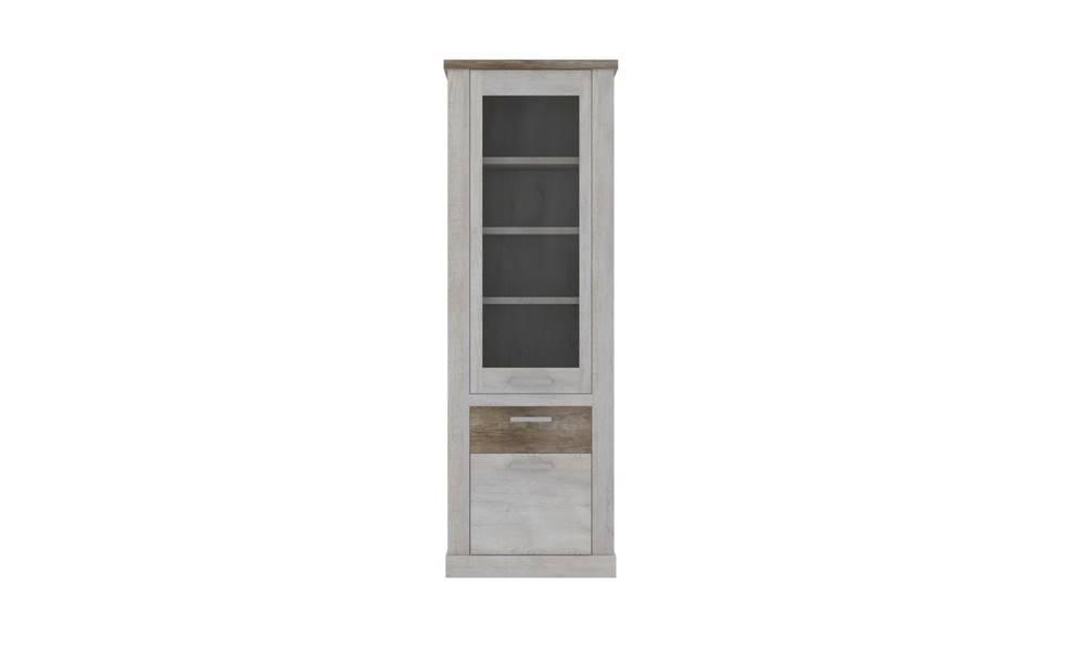Sconto Vitrína DURO pínia biela/dub antik
