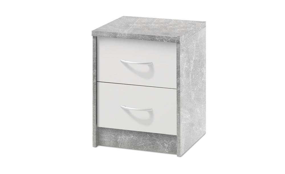 Sconto Nočný stolík OPTIMUS 38-009 betón/biela